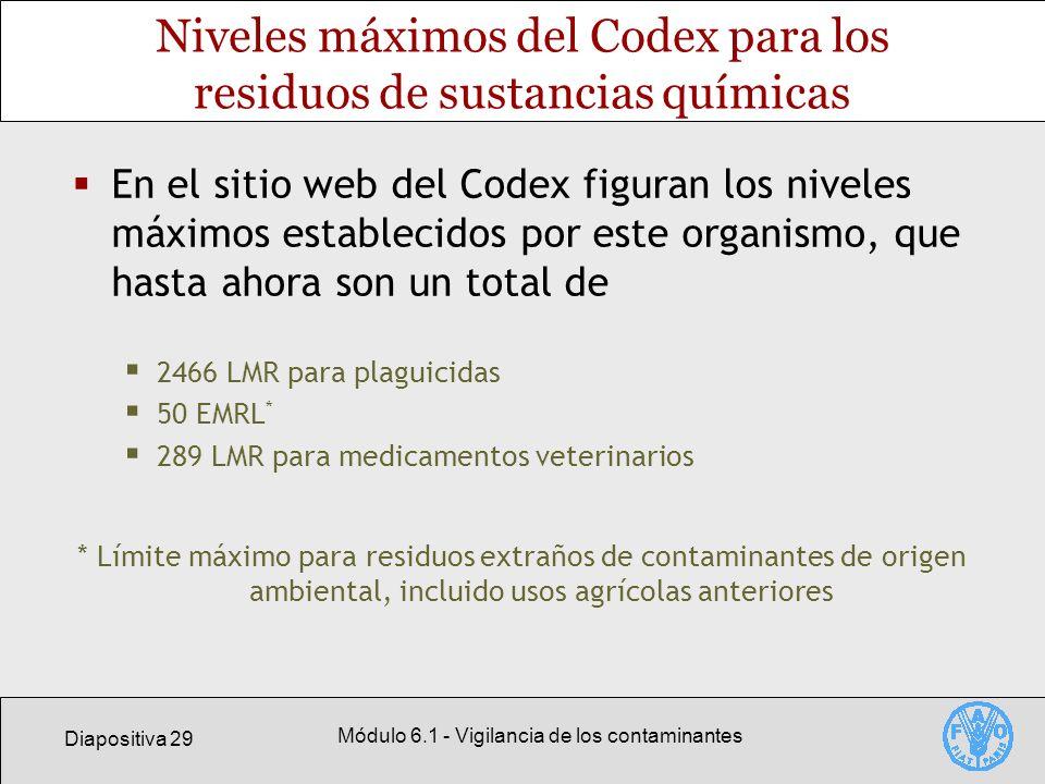 Diapositiva 29 Módulo 6.1 - Vigilancia de los contaminantes Niveles máximos del Codex para los residuos de sustancias químicas En el sitio web del Cod