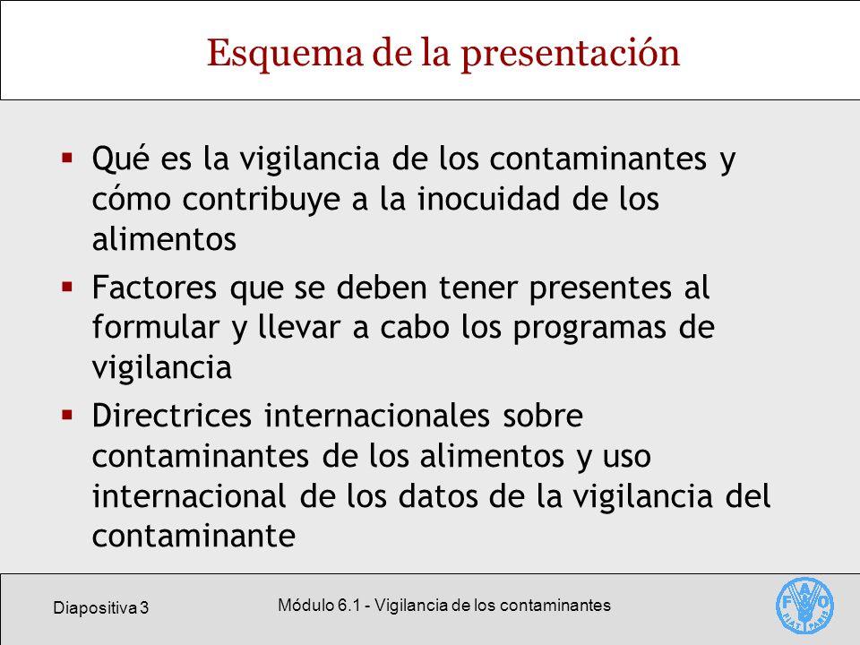 Diapositiva 3 Módulo 6.1 - Vigilancia de los contaminantes Esquema de la presentación Qué es la vigilancia de los contaminantes y cómo contribuye a la