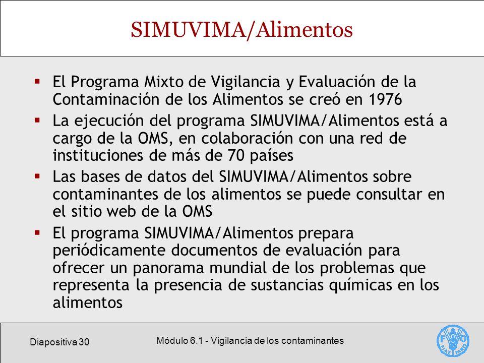 Diapositiva 30 Módulo 6.1 - Vigilancia de los contaminantes SIMUVIMA/Alimentos El Programa Mixto de Vigilancia y Evaluación de la Contaminación de los
