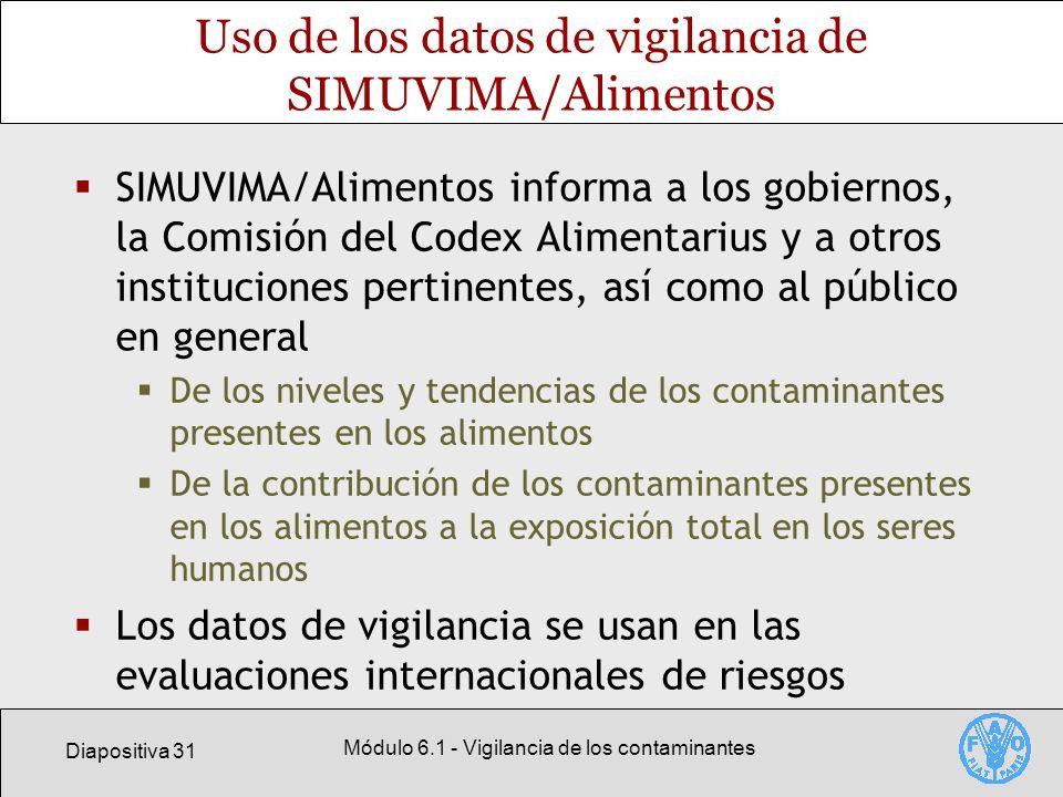 Diapositiva 31 Módulo 6.1 - Vigilancia de los contaminantes Uso de los datos de vigilancia de SIMUVIMA/Alimentos SIMUVIMA/Alimentos informa a los gobi