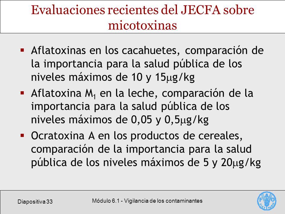 Diapositiva 33 Módulo 6.1 - Vigilancia de los contaminantes Evaluaciones recientes del JECFA sobre micotoxinas Aflatoxinas en los cacahuetes, comparac
