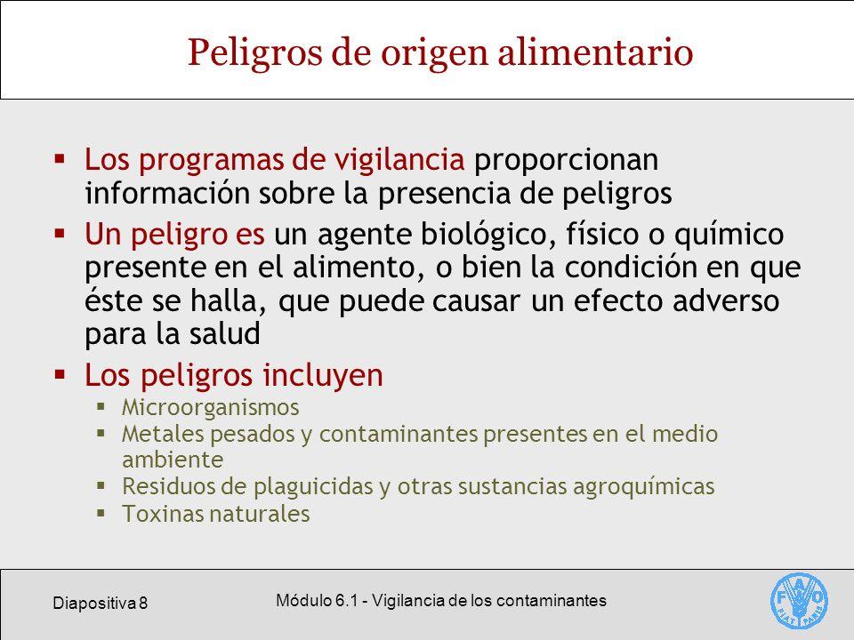 Diapositiva 29 Módulo 6.1 - Vigilancia de los contaminantes Niveles máximos del Codex para los residuos de sustancias químicas En el sitio web del Codex figuran los niveles máximos establecidos por este organismo, que hasta ahora son un total de 2466 LMR para plaguicidas 50 EMRL * 289 LMR para medicamentos veterinarios * Límite máximo para residuos extraños de contaminantes de origen ambiental, incluido usos agrícolas anteriores