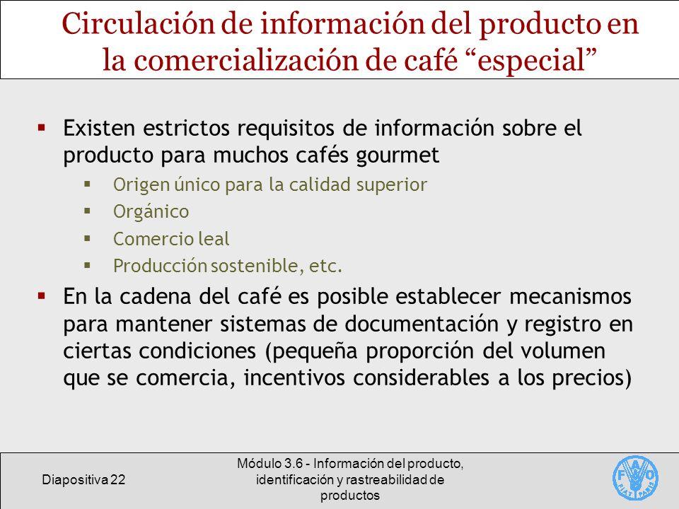 Diapositiva 22 Módulo 3.6 - Información del producto, identificación y rastreabilidad de productos Circulación de información del producto en la comer