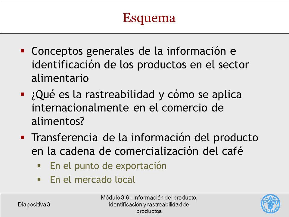 Diapositiva 3 Módulo 3.6 - Información del producto, identificación y rastreabilidad de productos Esquema Conceptos generales de la información e iden
