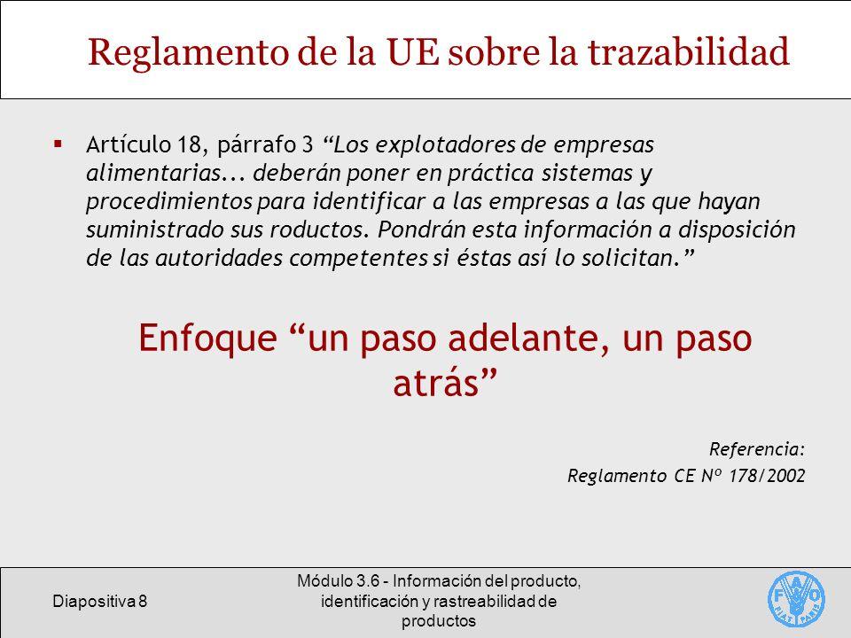 Diapositiva 8 Módulo 3.6 - Información del producto, identificación y rastreabilidad de productos Reglamento de la UE sobre la trazabilidad Artículo 1