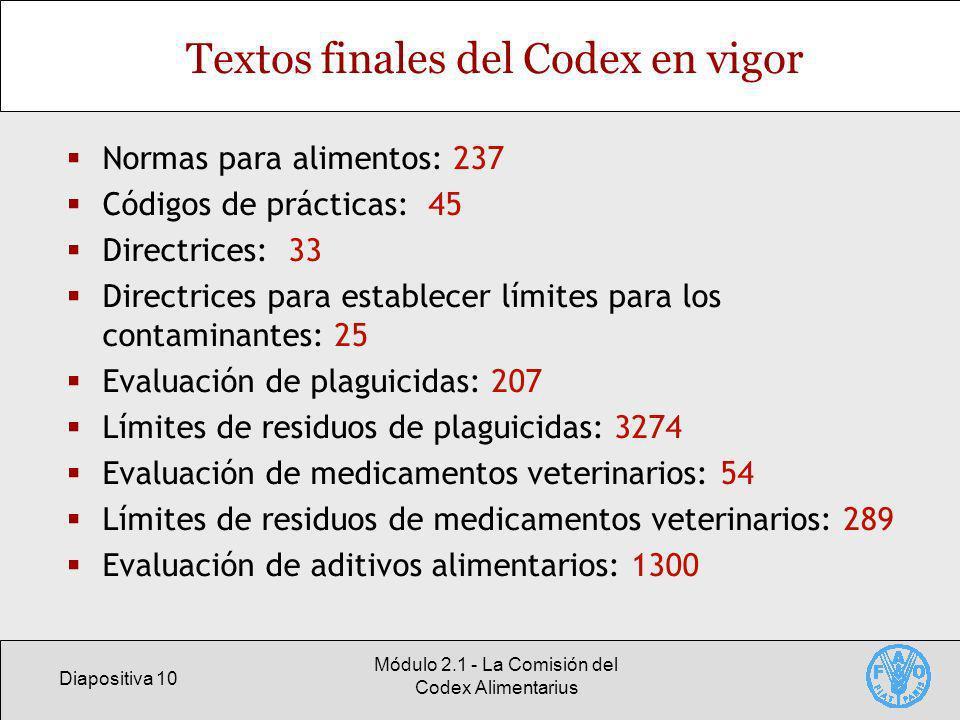 Diapositiva 10 Módulo 2.1 - La Comisión del Codex Alimentarius Textos finales del Codex en vigor Normas para alimentos: 237 Códigos de prácticas: 45 D
