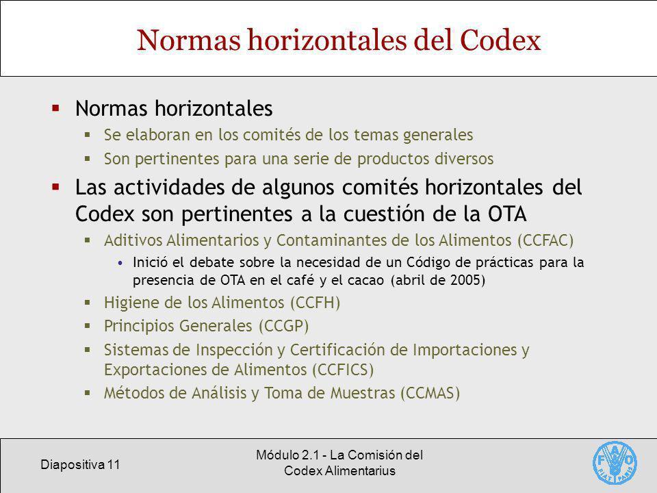 Diapositiva 11 Módulo 2.1 - La Comisión del Codex Alimentarius Normas horizontales del Codex Normas horizontales Se elaboran en los comités de los tem