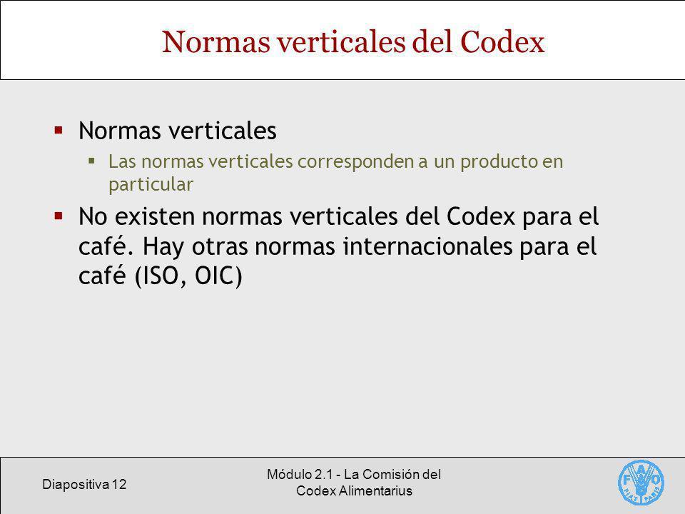 Diapositiva 12 Módulo 2.1 - La Comisión del Codex Alimentarius Normas verticales del Codex Normas verticales Las normas verticales corresponden a un producto en particular No existen normas verticales del Codex para el café.