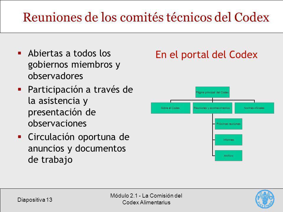 Diapositiva 13 Módulo 2.1 - La Comisión del Codex Alimentarius Reuniones de los comités técnicos del Codex Abiertas a todos los gobiernos miembros y o