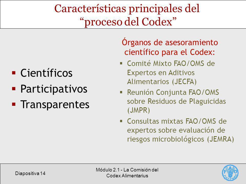 Diapositiva 14 Módulo 2.1 - La Comisión del Codex Alimentarius Características principales del proceso del Codex Científicos Participativos Transparentes Órganos de asesoramiento científico para el Codex: Comité Mixto FAO/OMS de Expertos en Aditivos Alimentarios (JECFA) Reunión Conjunta FAO/OMS sobre Residuos de Plaguicidas (JMPR) Consultas mixtas FAO/OMS de expertos sobre evaluación de riesgos microbiológicos (JEMRA)
