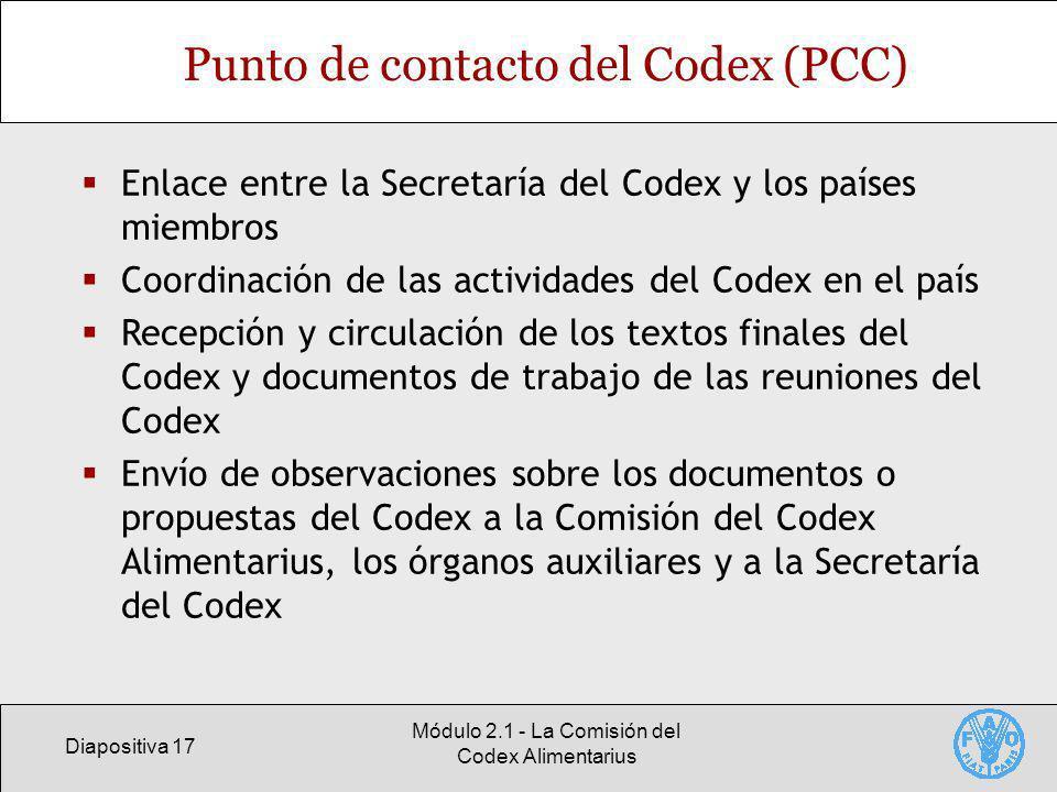 Diapositiva 17 Módulo 2.1 - La Comisión del Codex Alimentarius Punto de contacto del Codex (PCC) Enlace entre la Secretaría del Codex y los países mie