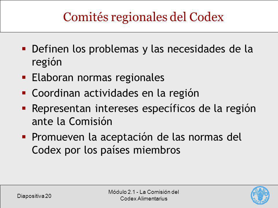 Diapositiva 20 Módulo 2.1 - La Comisión del Codex Alimentarius Comités regionales del Codex Definen los problemas y las necesidades de la región Elaboran normas regionales Coordinan actividades en la región Representan intereses específicos de la región ante la Comisión Promueven la aceptación de las normas del Codex por los países miembros