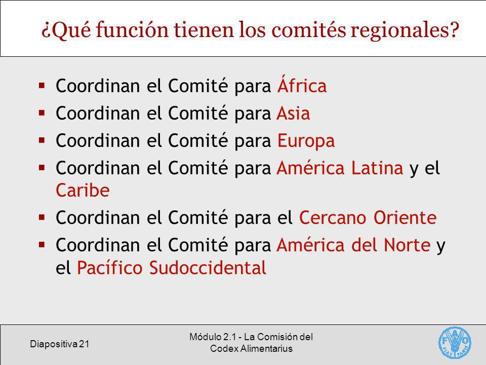 Diapositiva 21 Módulo 2.1 - La Comisión del Codex Alimentarius ¿Qué función tienen los comités regionales? Coordinan el Comité para África Coordinan e