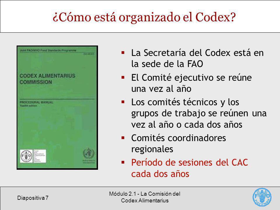 Diapositiva 7 Módulo 2.1 - La Comisión del Codex Alimentarius ¿Cómo está organizado el Codex? La Secretaría del Codex está en la sede de la FAO El Com