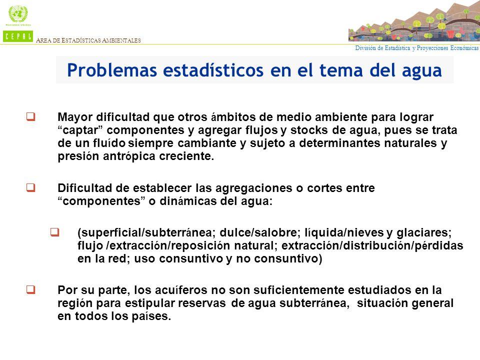 División de Estadística y Proyecciones Económicas A REA DE E STADÍSTICAS A MBIENTALES Problemas estadísticos en el tema del agua Mayor dificultad que