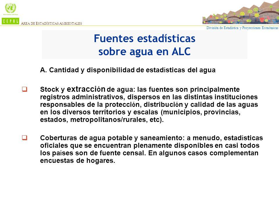 División de Estadística y Proyecciones Económicas A REA DE E STADÍSTICAS A MBIENTALES A. Cantidad y disponibilidad de estad í sticas del agua Stock y