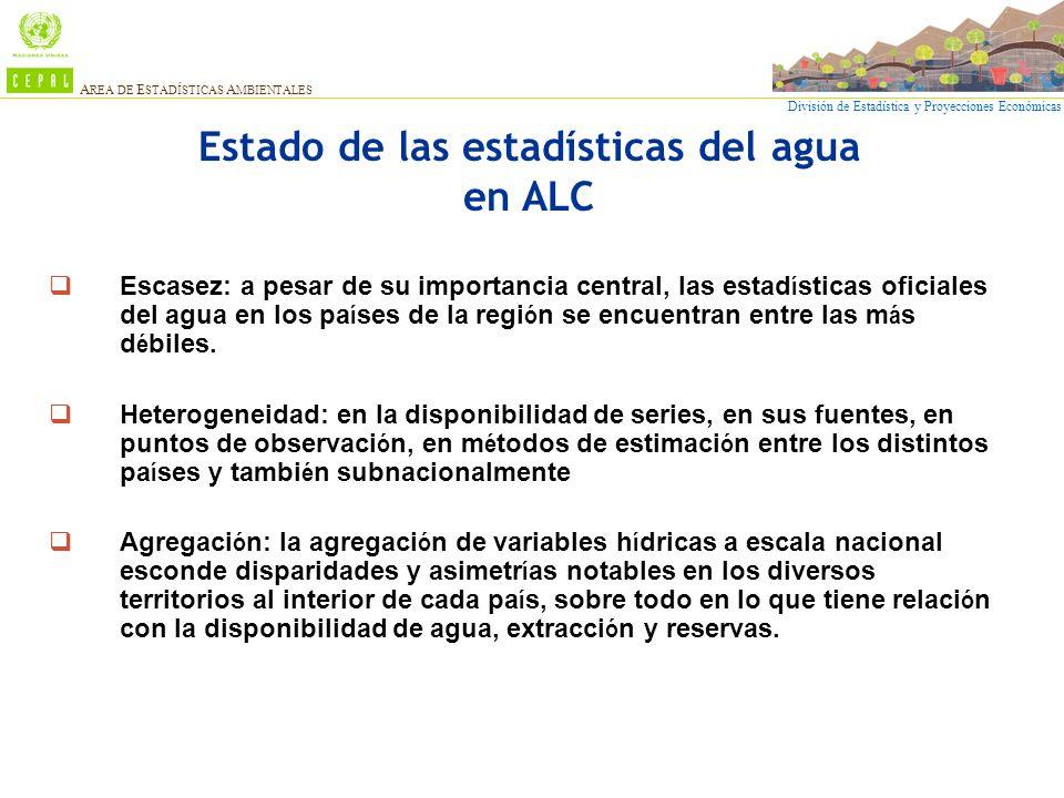 División de Estadística y Proyecciones Económicas A REA DE E STADÍSTICAS A MBIENTALES Estado de las estadísticas del agua en ALC Escasez: a pesar de s