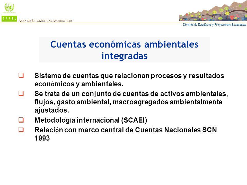 División de Estadística y Proyecciones Económicas A REA DE E STADÍSTICAS A MBIENTALES Sistema de cuentas que relacionan procesos y resultados econ ó m