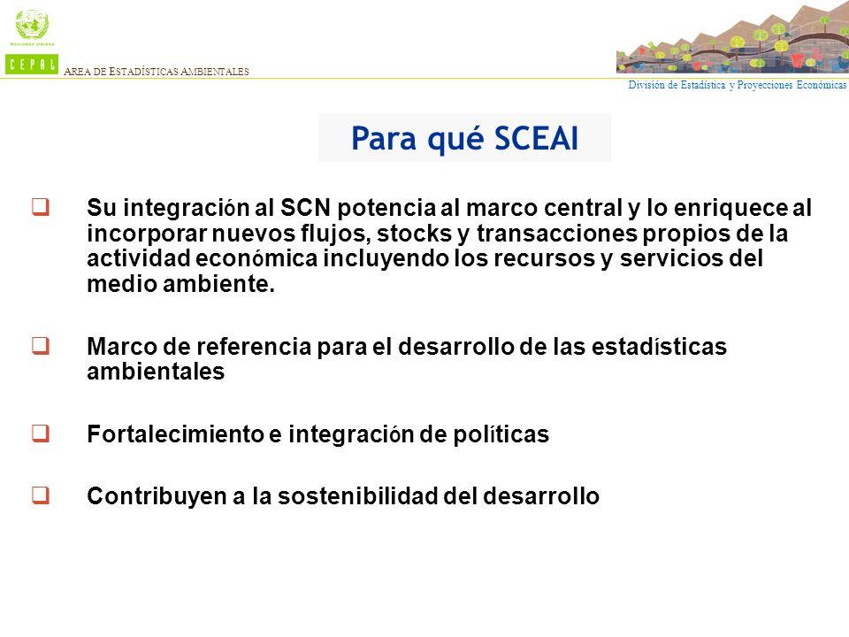 División de Estadística y Proyecciones Económicas A REA DE E STADÍSTICAS A MBIENTALES Su integraci ó n al SCN potencia al marco central y lo enriquece