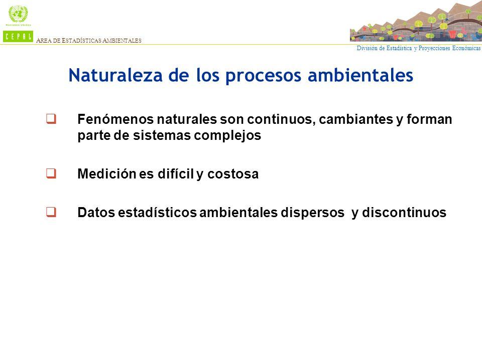 División de Estadística y Proyecciones Económicas A REA DE E STADÍSTICAS A MBIENTALES Naturaleza de los procesos ambientales Fenómenos naturales son c