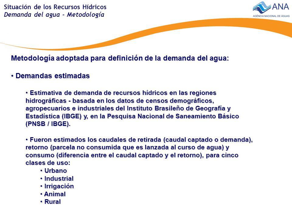 Situación de los Recursos Hídricos Demanda del agua - Metodología Metodología adoptada para definición de la demanda del agua: Demandas estimadas Demandas estimadas Estimativa de demanda de recursos hídricos en las regiones hidrográficas - basada en los datos de censos demográficos, agropecuarios e industriales del Instituto Brasileño de Geografía y Estadística (IBGE) y, en la Pesquisa Nacional de Saneamiento Básico (PNSB / IBGE).