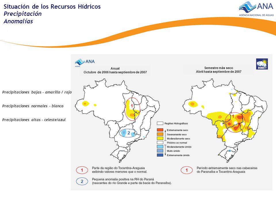 Situación de los Recursos Hídricos Disponibilidad hídrica superficial Puntos de acompañamiento Medias en 2007 Extremos Manchas de anormalidad Anomalías