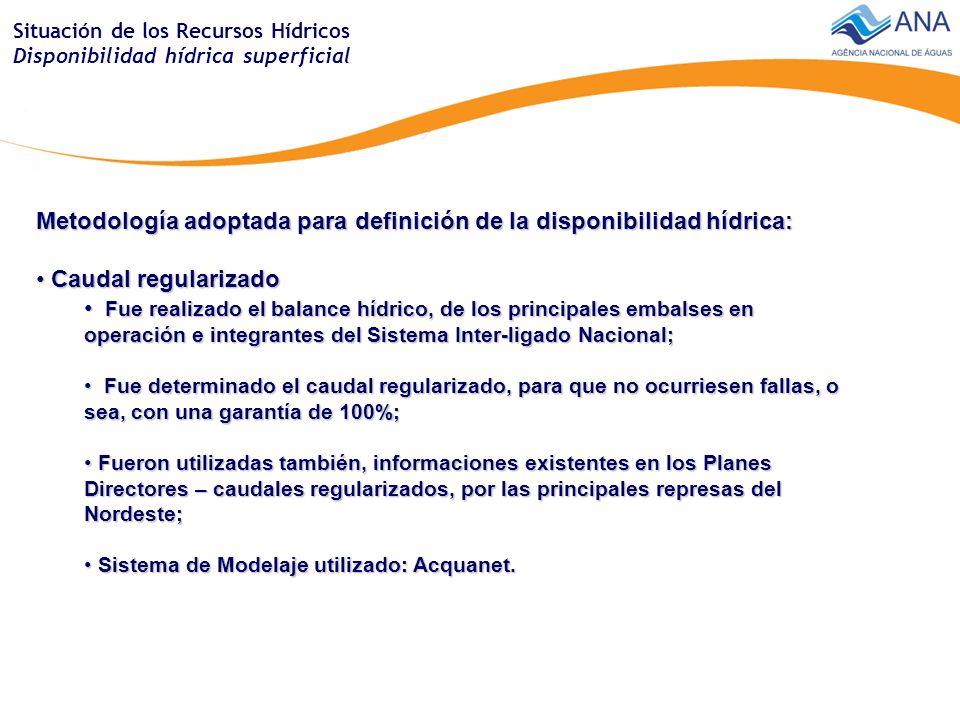 Situación de los Recursos Hídricos Demanda del agua - irrigación Demanda total - irrigación - Brasil Media anual = 861 m 3 /s Media del periodo seco = 1168 m 3 /s Máxima mensual del periodo seco = 2579 m 3 /s Área con irrigación Brasil = 4,6 millones (hectáreas)