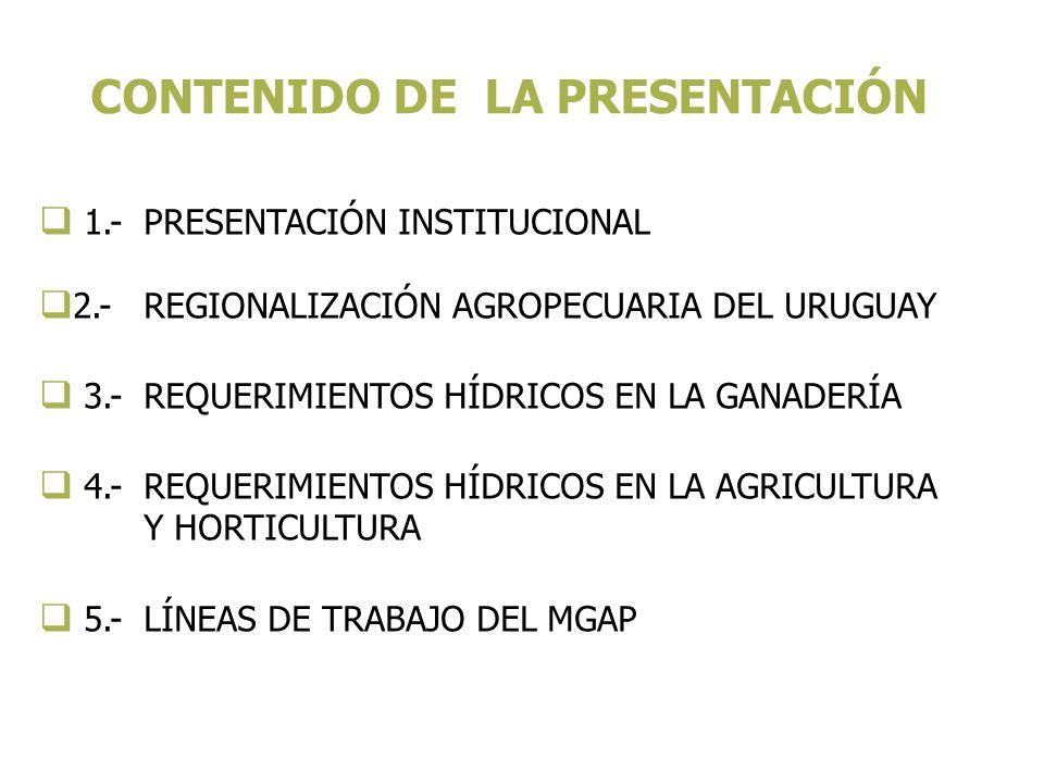 1.- PRESENTACIÓN INSTITUCIONAL 2.- REGIONALIZACIÓN AGROPECUARIA DEL URUGUAY 3.- REQUERIMIENTOS HÍDRICOS EN LA GANADERÍA 4.- REQUERIMIENTOS HÍDRICOS EN