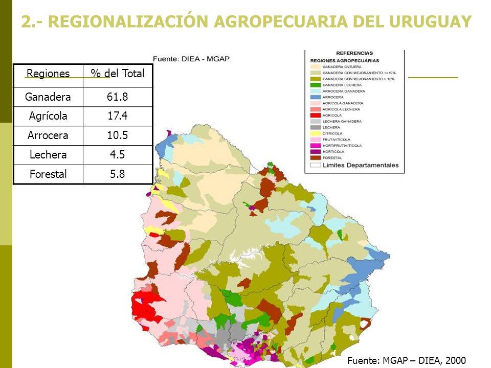 Fuente: MGAP – DIEA, 2000 2.- REGIONALIZACIÓN AGROPECUARIA DEL URUGUAY Regiones% del Total Ganadera61.8 Agrícola17.4 Arrocera10.5 Lechera4.5 Forestal5