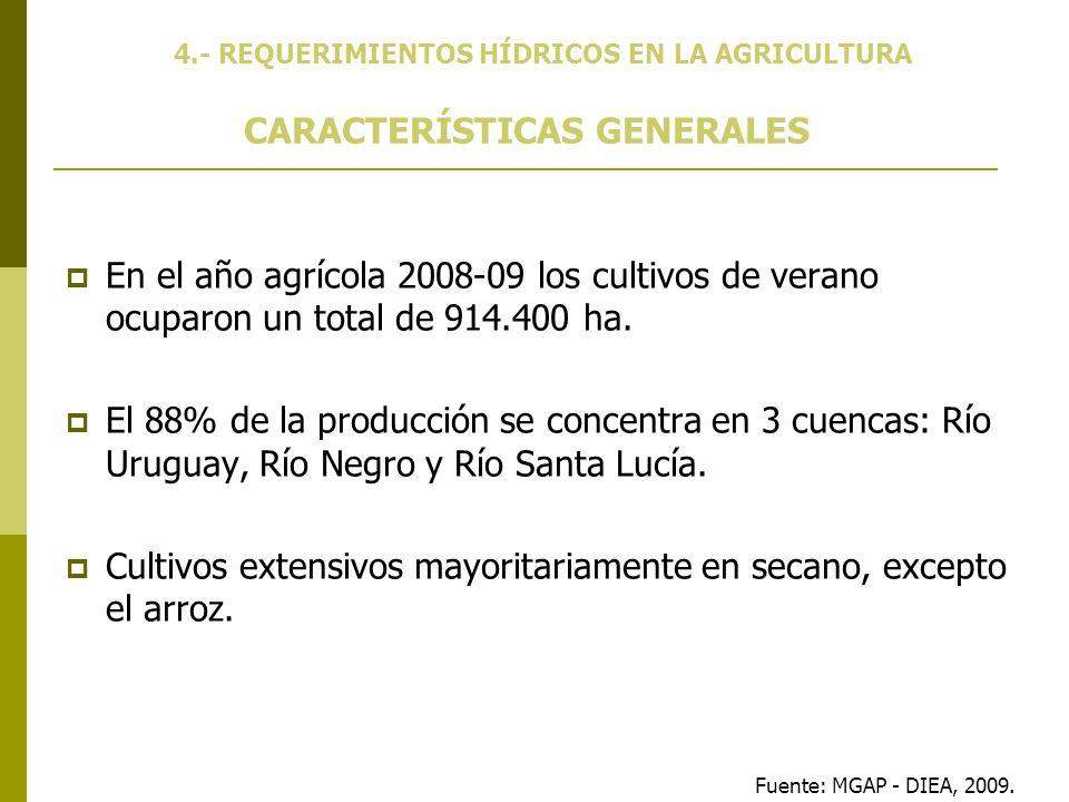 En el año agrícola 2008-09 los cultivos de verano ocuparon un total de 914.400 ha. El 88% de la producción se concentra en 3 cuencas: Río Uruguay, Río