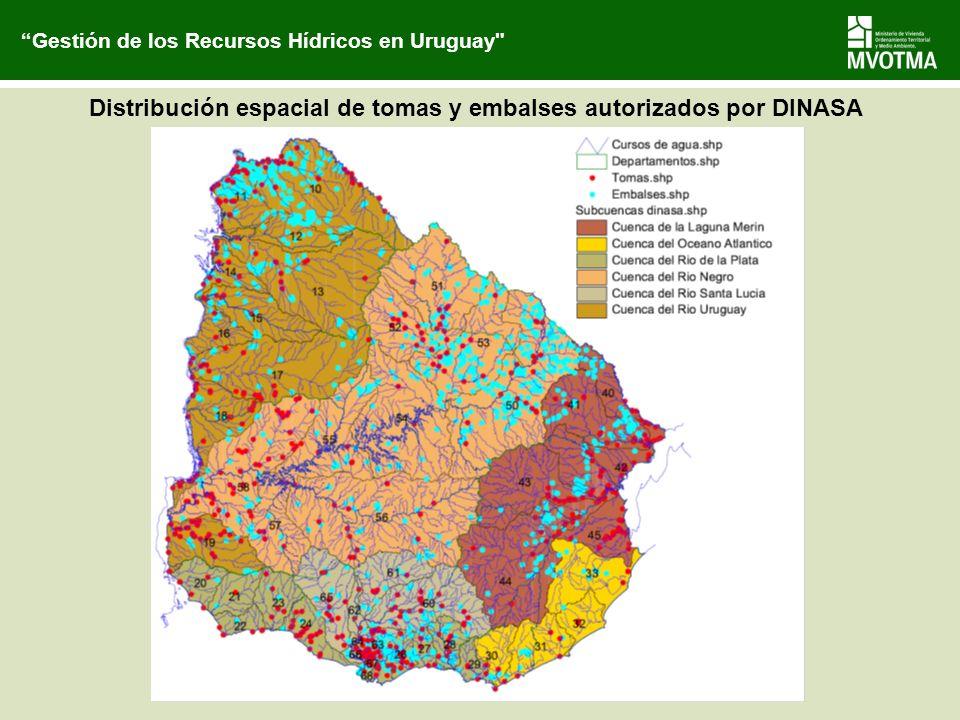 Distribución espacial de tomas y embalses autorizados por DINASA Gestión de los Recursos Hídricos en Uruguay