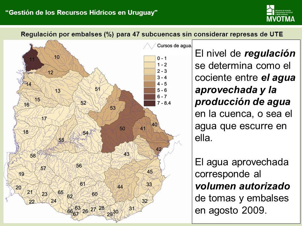 Regulación por embalses (%) para 47 subcuencas sin considerar represas de UTE El nivel de regulación se determina como el cociente entre el agua aprov