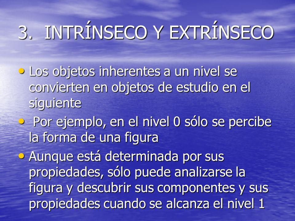 3. INTRÍNSECO Y EXTRÍNSECO Los objetos inherentes a un nivel se convierten en objetos de estudio en el siguiente Los objetos inherentes a un nivel se