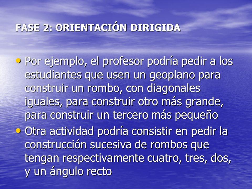 FASE 2: ORIENTACIÓN DIRIGIDA Por ejemplo, el profesor podría pedir a los estudiantes que usen un geoplano para construir un rombo, con diagonales igua