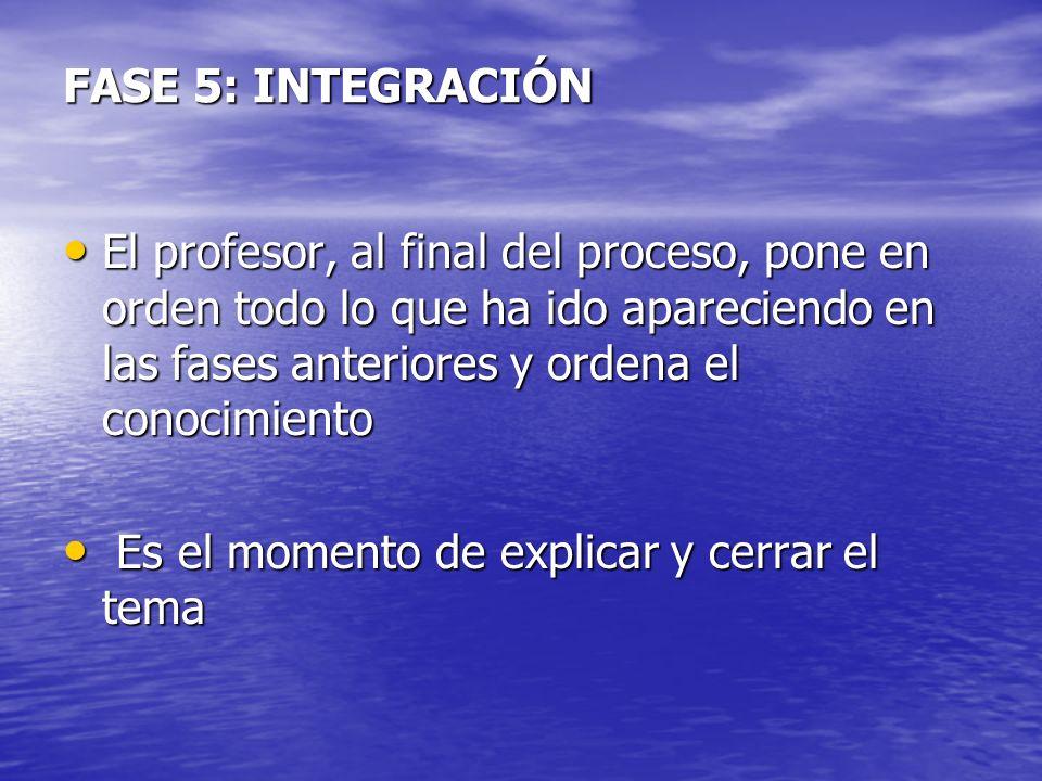 FASE 5: INTEGRACIÓN El profesor, al final del proceso, pone en orden todo lo que ha ido apareciendo en las fases anteriores y ordena el conocimiento E