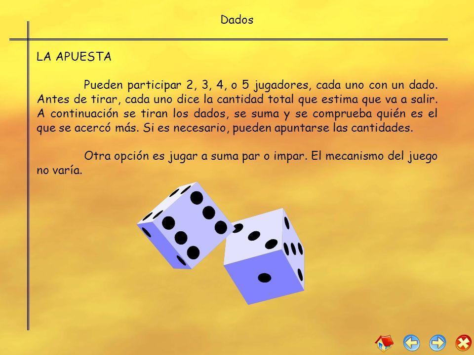 Dados LA APUESTA Pueden participar 2, 3, 4, o 5 jugadores, cada uno con un dado. Antes de tirar, cada uno dice la cantidad total que estima que va a s