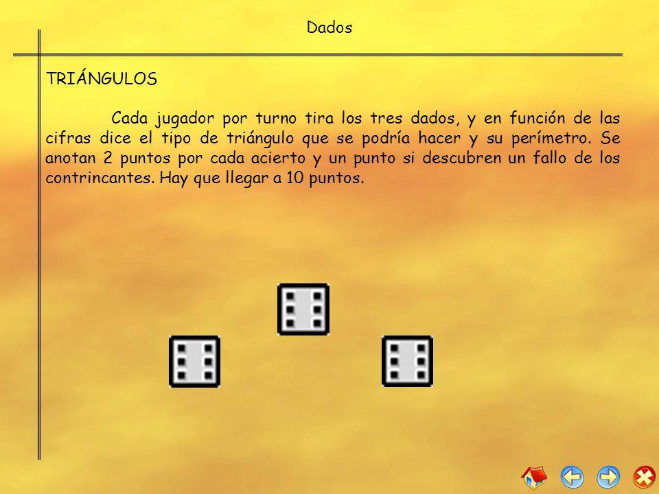 Dados TRIÁNGULOS Cada jugador por turno tira los tres dados, y en función de las cifras dice el tipo de triángulo que se podría hacer y su perímetro.