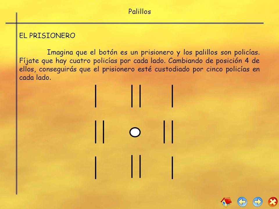 Palillos EL PRISIONERO Imagina que el botón es un prisionero y los palillos son policías. Fíjate que hay cuatro policías por cada lado. Cambiando de p