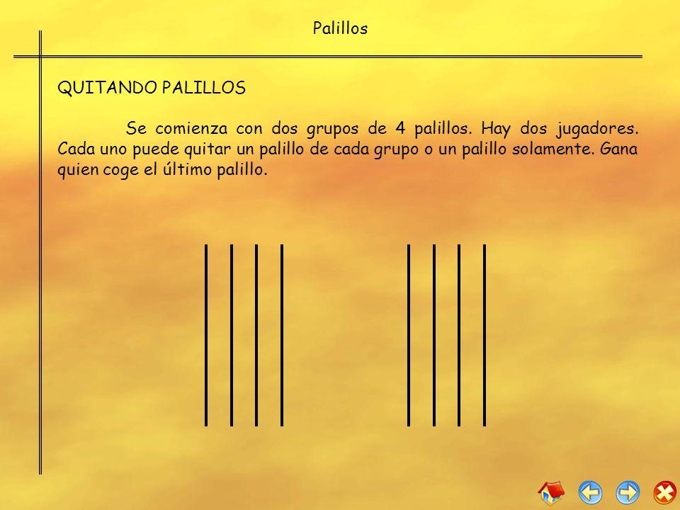 Palillos QUITANDO PALILLOS Se comienza con dos grupos de 4 palillos. Hay dos jugadores. Cada uno puede quitar un palillo de cada grupo o un palillo so