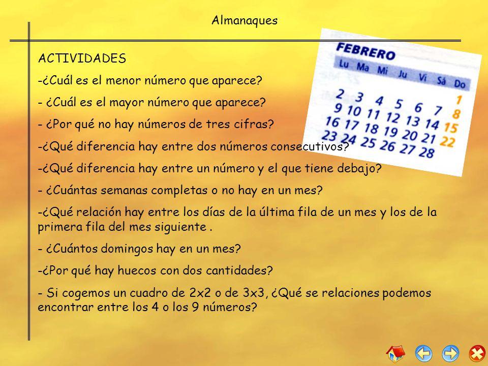 Almanaques ACTIVIDADES -¿Cuál es el menor número que aparece? - ¿Cuál es el mayor número que aparece? - ¿Por qué no hay números de tres cifras? -¿Qué