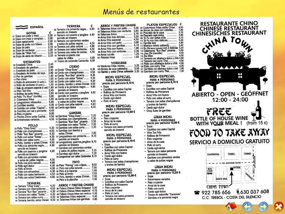 Menús de restaurantes