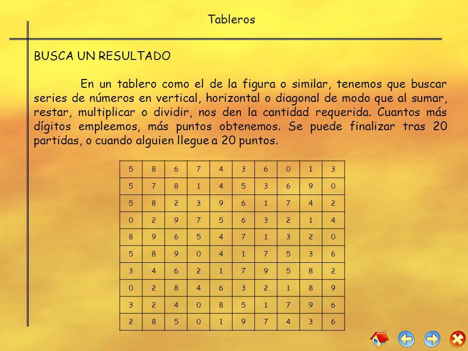 BUSCA UN RESULTADO En un tablero como el de la figura o similar, tenemos que buscar series de números en vertical, horizontal o diagonal de modo que a