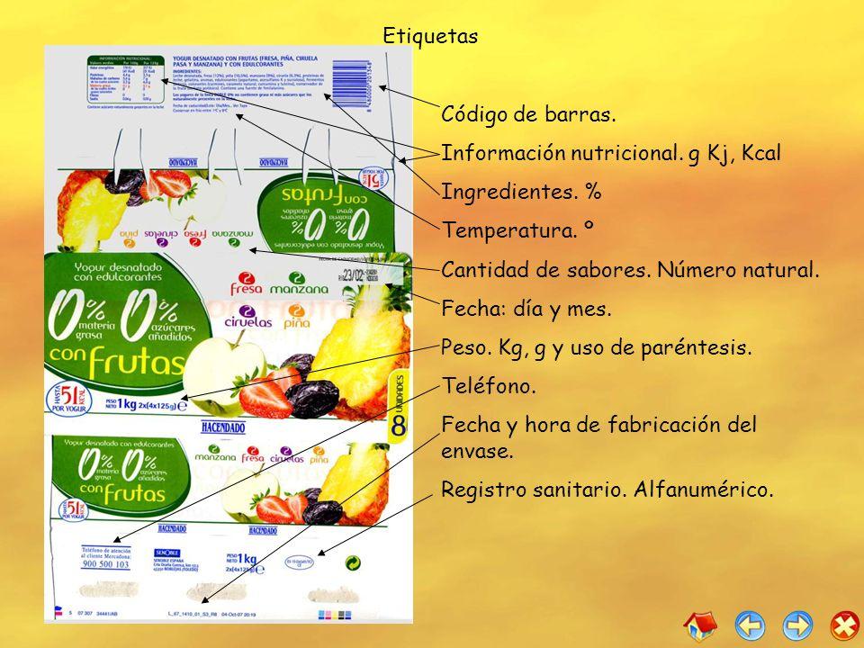 Etiquetas Código de barras. Información nutricional. g Kj, Kcal Ingredientes. % Temperatura. º Cantidad de sabores. Número natural. Fecha: día y mes.