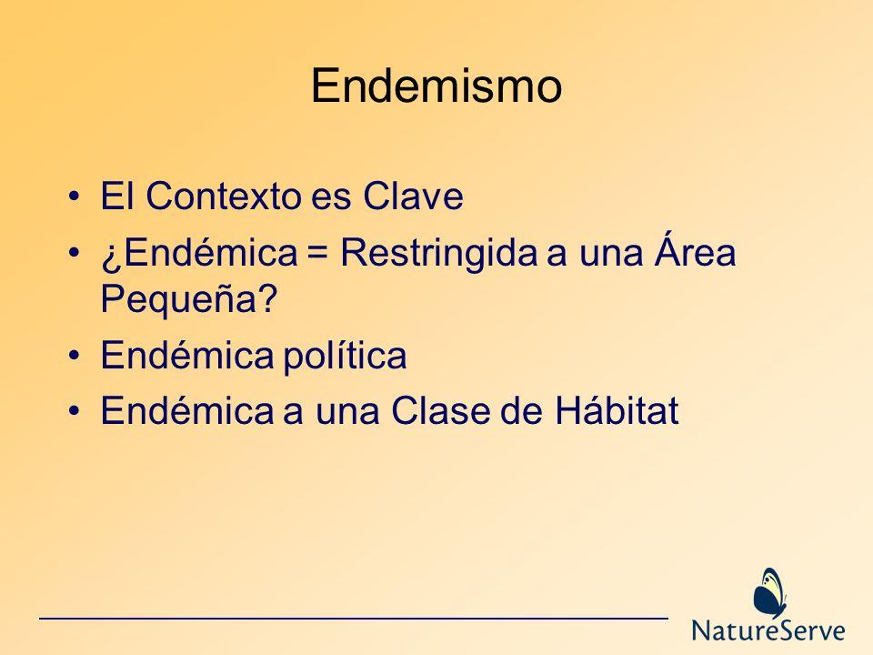 Endemismo El Contexto es Clave ¿Endémica = Restringida a una Área Pequeña? Endémica política Endémica a una Clase de Hábitat