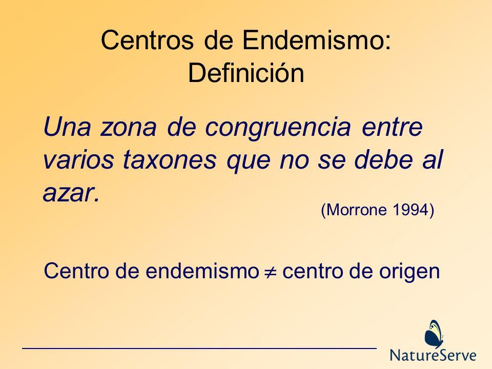 Centros de Endemismo: Definición Una zona de congruencia entre varios taxones que no se debe al azar. (Morrone 1994) Centro de endemismo centro de ori