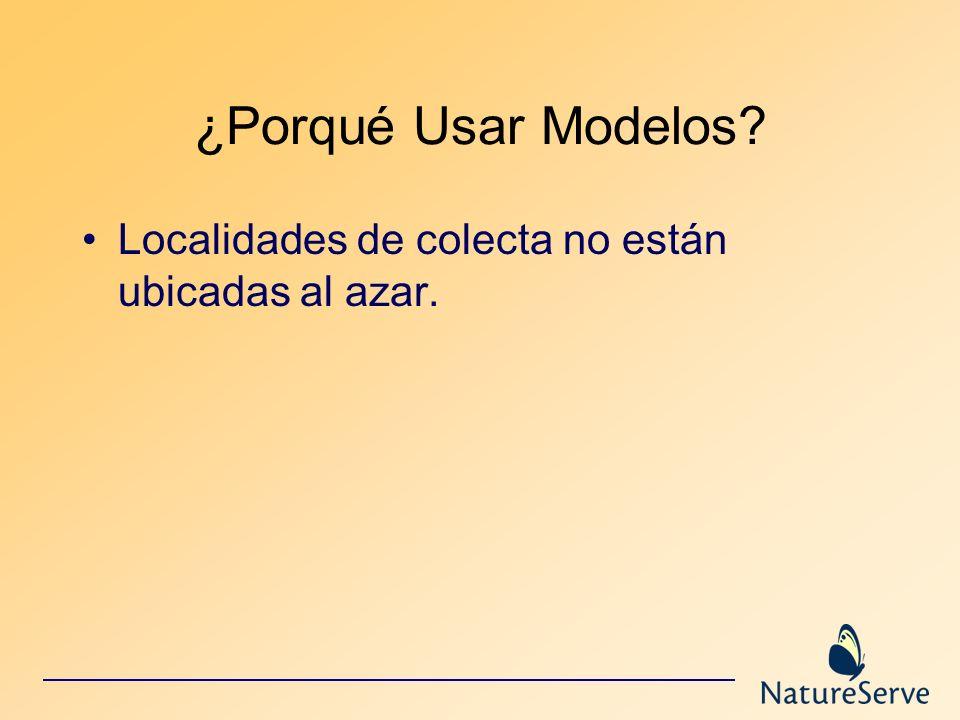 ¿Porqué Usar Modelos? Localidades de colecta no están ubicadas al azar.