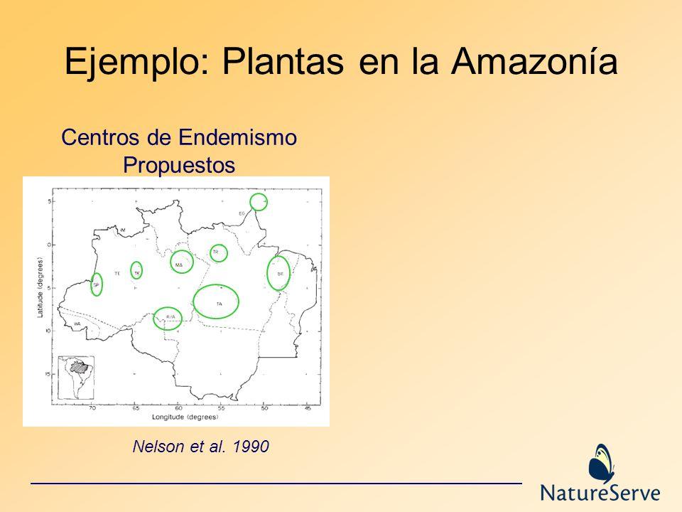 Ejemplo: Plantas en la Amazonía Nelson et al. 1990 Centros de Endemismo Propuestos