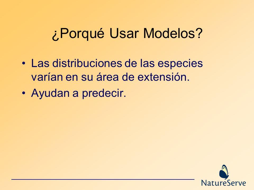 ¿Porqué Usar Modelos? Las distribuciones de las especies varían en su área de extensión. Ayudan a predecir.