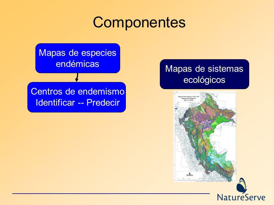 Componentes Mapas de especies endémicas Centros de endemismo Identificar -- Predecir Mapas de sistemas ecológicos