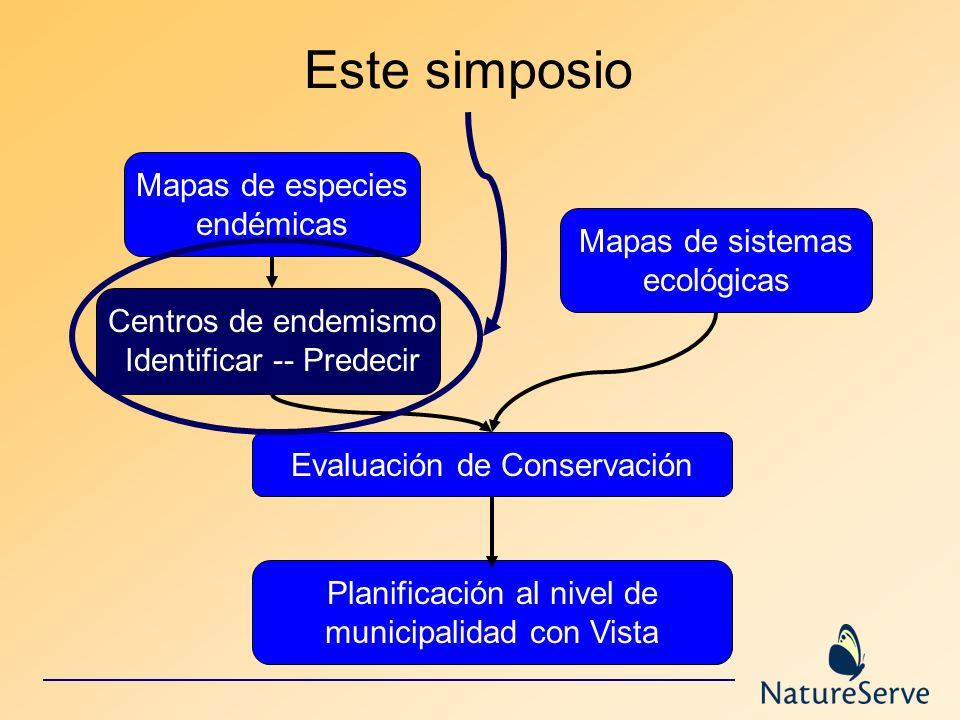 Mapas de especies endémicas Mapas de sistemas ecológicas Evaluación de Conservación Planificación al nivel de municipalidad con Vista Este simposio Ce